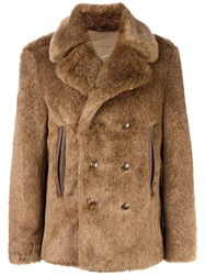 Roberto Cavalli Faux Fur Coat Brown