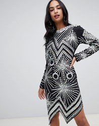 A Star Is Born Midi Dress With Embellished Silver Pattern Black Silver Multi