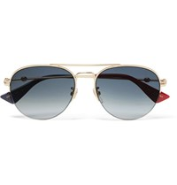 Gucci Aviator Style Acetate And Gold Tone Sunglasses Gold