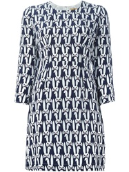 Peter Jensen Rabbit Print Shift Dress Blue