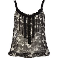 River Island Womens Black Floral Print Sheer Bubble Hem Top
