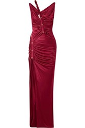 Versace Cutout Button Detailed Ruched Satin Gown Burgundy
