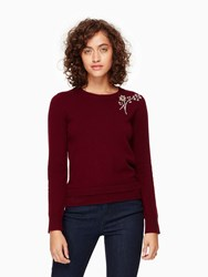 Kate Spade Embellished Brooch Sweater Midnight Wine