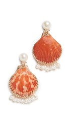 Mercedes Salazar Shell Earrings With Dangling Pearls Orange