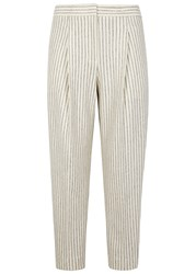 Dkny Pinstriped Cropped Wool Blend Trousers Cream