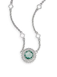 Judith Ripka Luna Paraiba Spinel White Sapphire And Sterling Silver Pendant Necklace