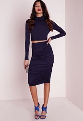 Missguided Ruched Seam Midi Skirt Navy Blue