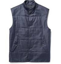 Paul Smith Quilted Checked Wool Gilet Navy
