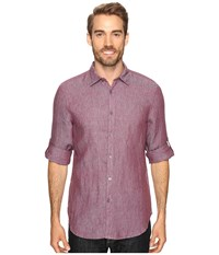 Perry Ellis Solid Rolled Sleeve Linen Shirt Crushed Violets Men's Clothing Burgundy