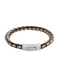 Tateossian Woven Leather Mix Bracelet Brown And