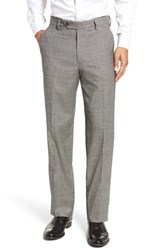 Berle Men's Flat Front Stretch Plaid Houndstooth Trousers Black White