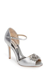 Badgley Mischka Women's Ankle Strap Pump Silver Metallic Suede