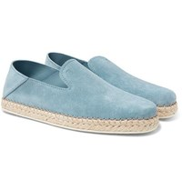 Tod's Collapsible Heel Suede Espadrilles Light Blue