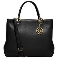 Michael Michael Kors Anabelle Medium Top Zip Leather Tote Bag Black