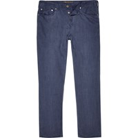 River Island Mens Navy Linen Slim Trousers