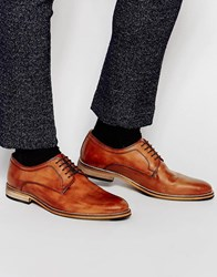 Asos Derby Shoes In Tan Leather Tan