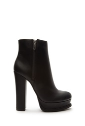 Forever 21 Faux Leather Platform Booties Black