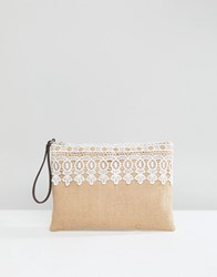 South Beach Jute Clutch With Lacetrim And Tassle Zip Multi