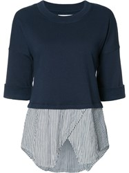 Derek Lam 10 Crosby Striped Layered Sweatshirt Blue
