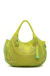 Sondra Roberts Lattice Woven Hobo Bag Yellow