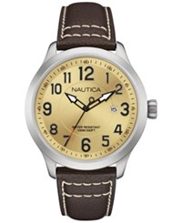 Nautica Men's Brown Leather Strap Watch 44Mm Nad10006g
