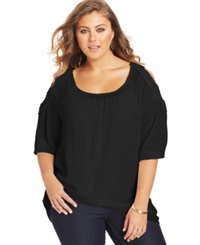 Ing Plus Size Crocheted Cold Shoulder Top