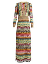 Missoni Long Sleeved V Neck Crochet Knit Gown Cream Multi