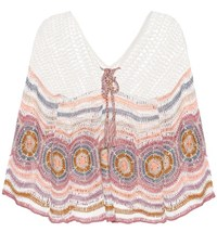 Anna Kosturova Carly Crocheted Cotton Top Multicoloured