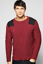 Boohoo Crew Neck Sweater With Shoulder Patches Wine