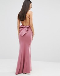 City Goddess Maxi Dress With Bow Detail And Exposed Back Dusky Pink
