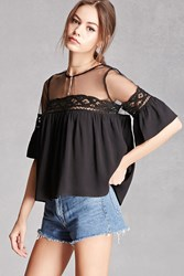 Forever 21 Crochet Lace Babydoll Top Black