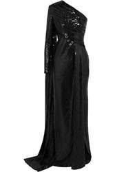 Elie Saab One Sleeve Draped Sequined Tulle Gown Black