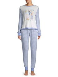 Jane And Bleecker Two Piece Striped Long Sleeve Pajamas Cheer
