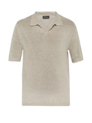 Iris Von Arnim Filip Linen Knit Polo Shirt Beige
