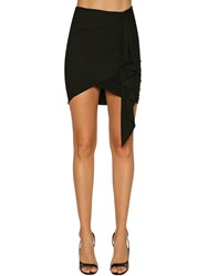 Alexandre Vauthier Ruched Stretch Jersey Mini Skirt Black