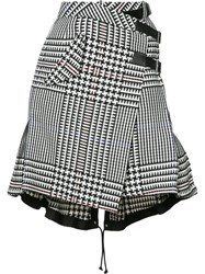 Sacai Houndstooth Check Skirt Women Cotton Cupro 4 Black
