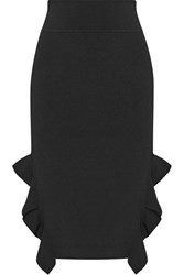 Opening Ceremony Ruffle Trimmed Stretch Knit Skirt Black