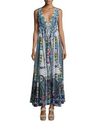 Camilla Embellished Crepe V Neck Maxi Coverup Dress Maasai Mosh Multi