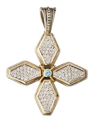 Konstantino Pave Diamond And Blue Topaz Cross Pendant Enhancer