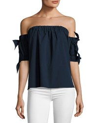 Milly Off The Shoulder Stretch Poplin Bow Top Navy