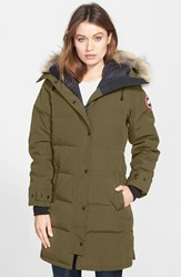 Women's Canada Goose 'Shelburne' Slim Fit Genuine Coyote Fur Trim Down Parka Military Green