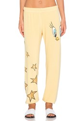 Lauren Moshi Tanzy Tweety Mini Star Leg Sweatpant Yellow