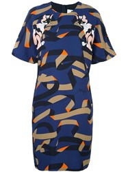 Msgm Cat Print Shift Dress Multicolour
