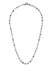 Adornia Blue Sapphire And Silver Rosary Bead Necklace
