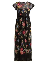 Redvalentino Floral Embroidered Georgette Dress Black Multi