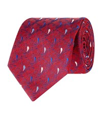 Turnbull And Asser Teardrop Swirl Silk Tie Unisex Red
