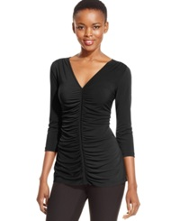 Eci Three Quarter Sleeve Ruched Top Black