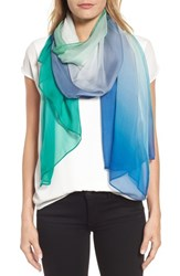 Nordstrom Silk Chiffon Oblong Scarf Teal Ombre Whisper