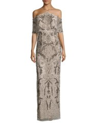 Aidan Mattox Beaded Cold Shoulder Gown Champagne