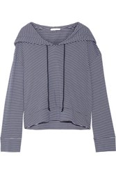 Skin Striped Pima Cotton And Modal Blend Hooded Top Midnight Blue